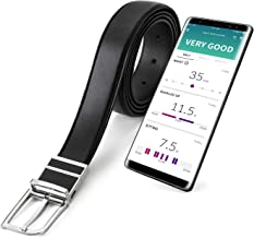 WELT Smart Belt, Compatible with iOS and Android, Adjustable Size Men's Leather Belt, Bluetooth 4.1, Smart Fitness Activity Tracker, Wearable for Healthcare, Waist Measurement, Step Counter (Black)