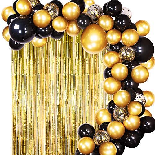 Kyrieval Luftballon Girlande Kit Schwarz und Gold Ballon Arch mit Lametta Vorhänge für Damen Herren Geburtstagsdeko Graduierung,Abschluss Halloween Party