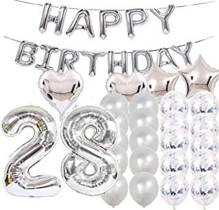 Sweet 28th Birthday Decorations Party Supplies,Silver Number 28 Balloons,28th Foil Mylar Balloons Latex Balloon Decoration,Great 28th Birthday Gifts for Girls,Women,Men,Photo Props