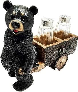 Ky & Co YK Whimsical Black Bear Pulling Spice Cart Salt Pepper Shaker Holder Figurine