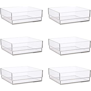 "STORi Clear Plastic Drawer Organizers 6"" x 6"" x 2"" l Set of 6"
