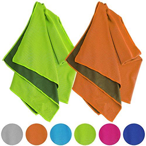 Vancle Cooling Towels 2 Pack, Cooling Towel for Instant Cooling Relief in Hot Environment, Ice Towels Stay Cool for Sports and Fitness, Green & Orange, 40 x 12 inch