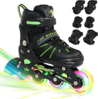 PETUOL Kids Inline Skates, Adjustable and Safe Durable Children Roller Skates with All 8 Full Light Up Illuminating Wheels, Fashionable Outdoor Sport Skates for Young Boys Girls