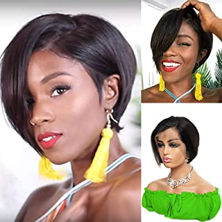 WENYU Pixie Cut Wigs Short 13x4 Lace Front Wigs Human Hair Short Straight Wigs for Black Women Brazilian Wigs Natural Hairline Pre Plucked 130% Density Natural Color (Pixie Cut Wig, Wig 13x4 Straight)