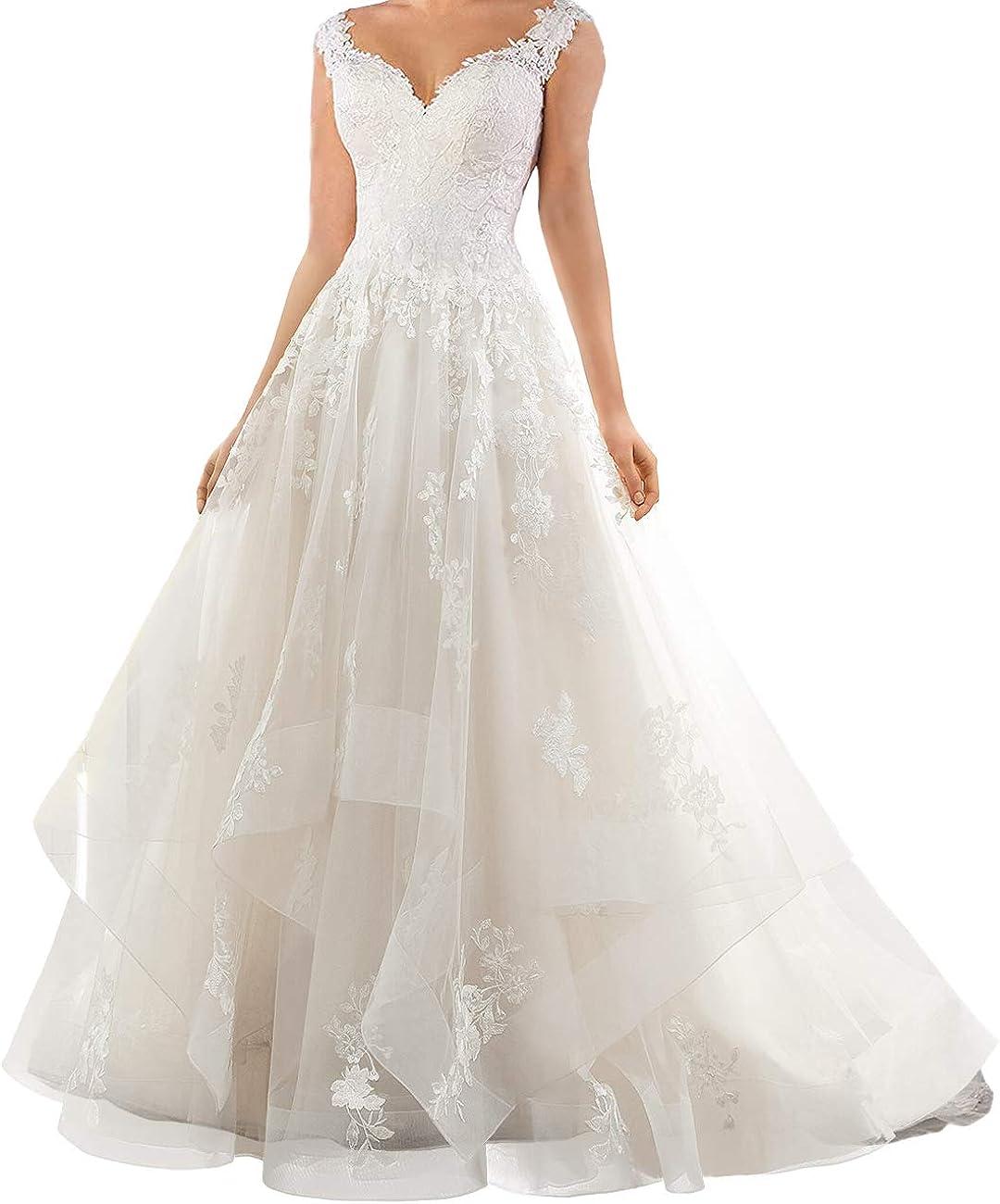 Wedding Dress Lace Bride Dress A Line Wedding Gowns Ruffles Bridal Gowns Sleeveless