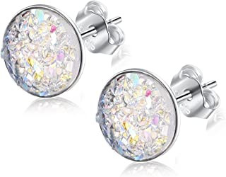 EVERU Druzy Stud Earrings Sterling Silver Round Studs, 8 Colors Options, ⌀8mm