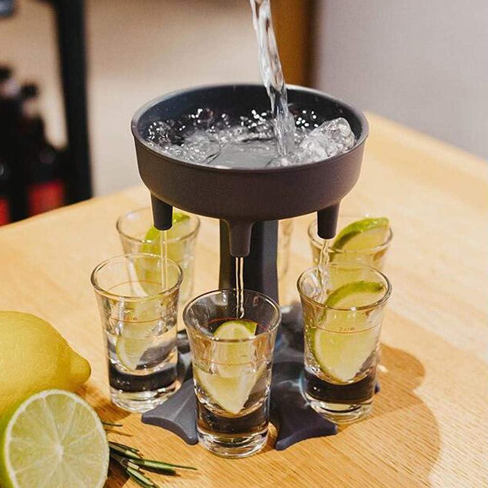 Dispensador para llenar l/íquidos Suministros para Fiestas Dispensador y Soporte para 6 Vasos de chupito Juegos para Beber Vasos de chupito /¡Consigue!