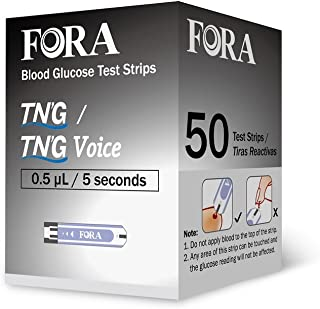 FORA TN'G (Test N'GO) 50 Blood Glucose Test Strips for Accurate Blood Sugar Measurement for Diabetes and Your Diabetic Diet