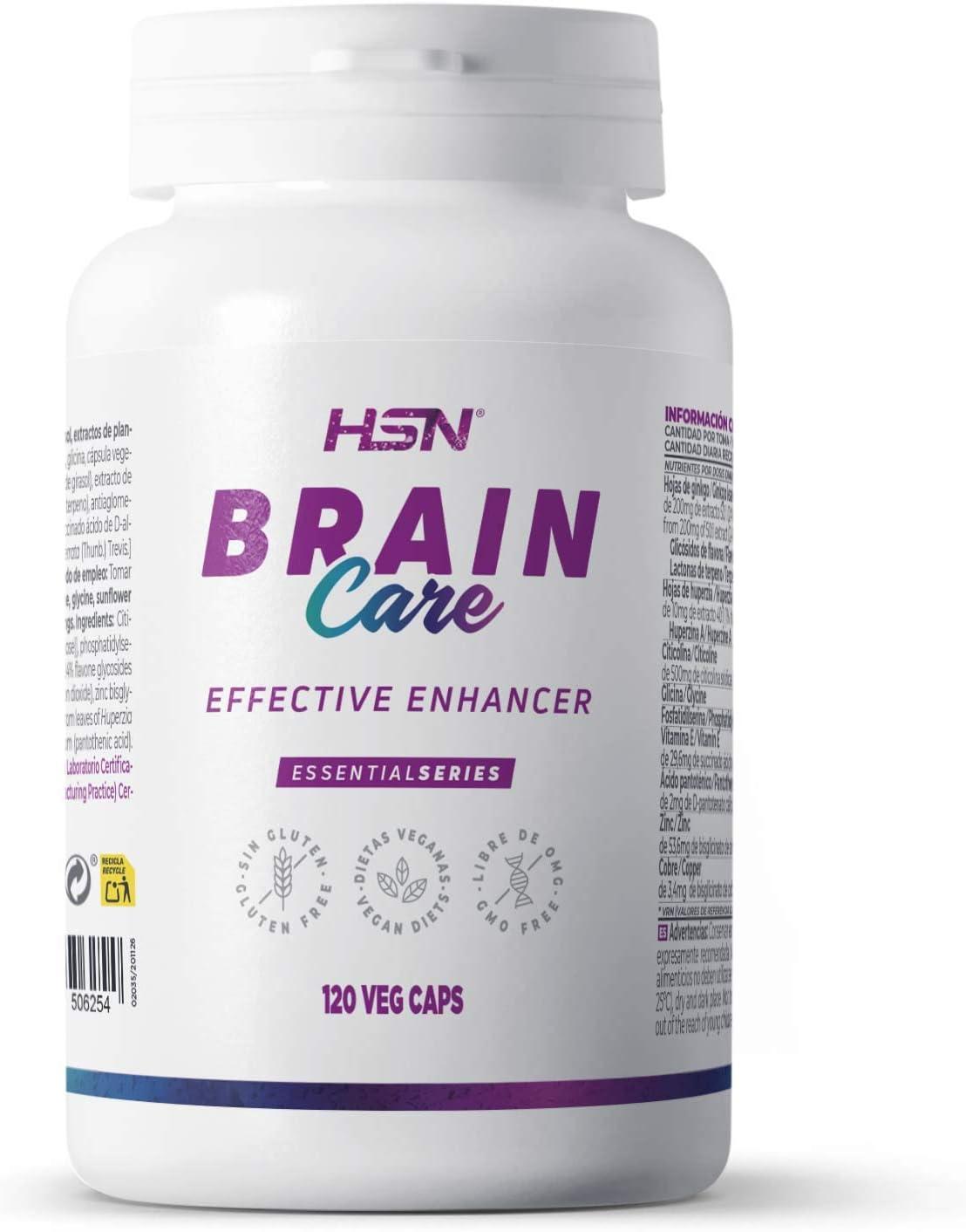 Brain Care de HSN | Nootrópico Natural con Gingko Biloba + Huperzina + Citicolina + Fosfatidilserina + Vitaminas + Minerales | Apoyo Cognitivo + Memoria + Atención | Vegano | 120 Veg Caps