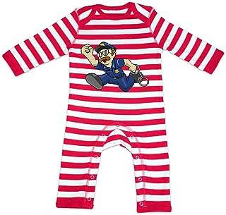 HARIZ HARIZ Baby Strampler Streifen Polizist Handschellen Rennen Polizei Cops Plus Geschenkkarte Feuerwehr Rot/Washed Weiß 3-6 Monate