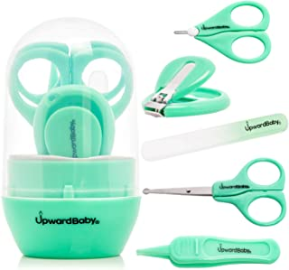 Baby Nail Clippers and Scissors - 5 in 1 Kit - UpwardBaby Newborn Infant Manicure Grooming Set for Kids Toddlers - Premium Stainless Steel - Nose Tweezers and File Included - See Video Demonstration