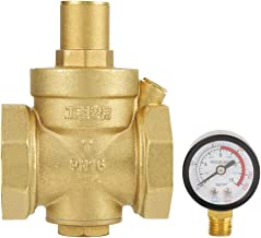 【 Eenvoudig te bedienen 】 Drukreductieventiel, BSP DN50 messing-waterdrukreductie ventiel met instelbare manometerdoorstro...