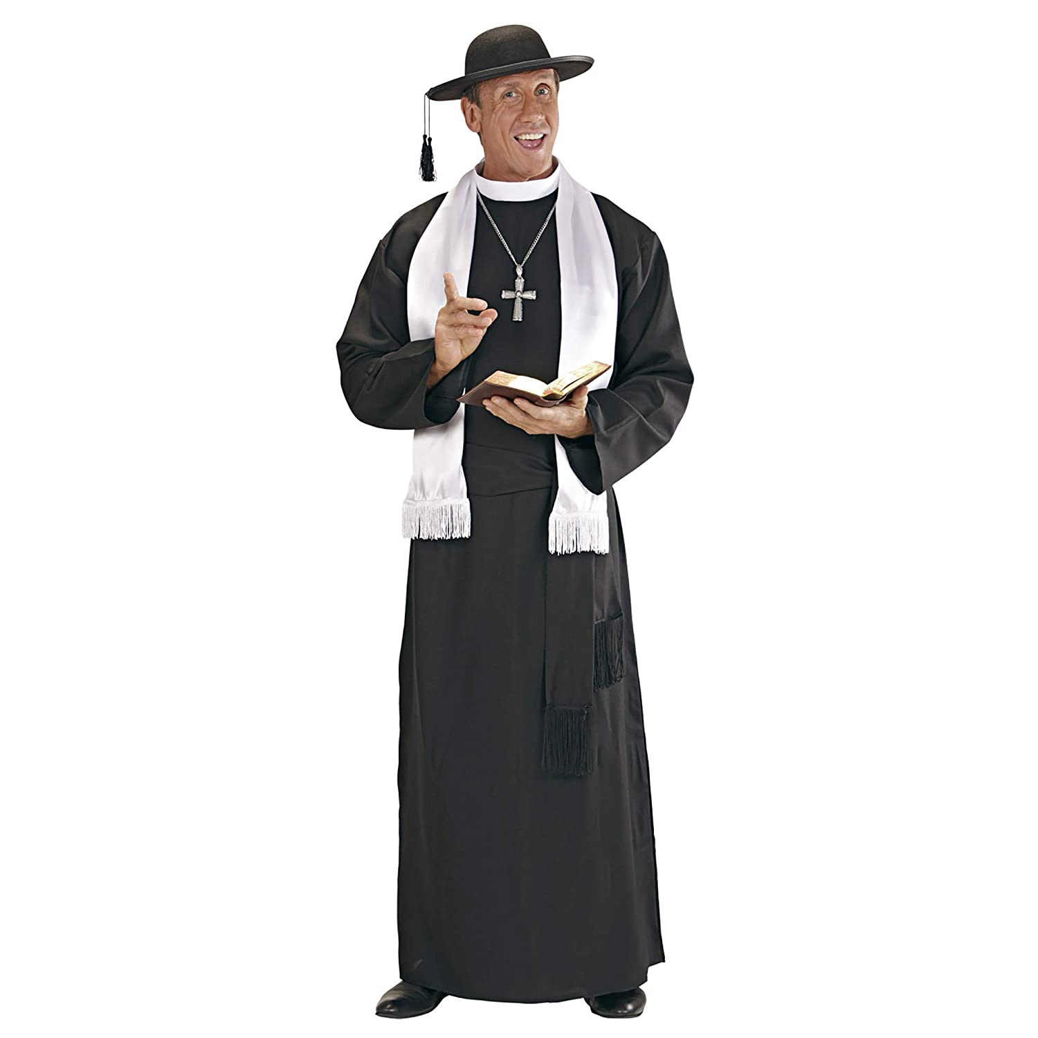 Mens Deluxe Priest Costume Large UK 2.4cm for Father Vicar Fancy Dress