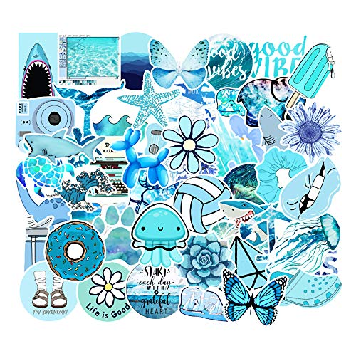 MSOLE 53PCS Blue Stickers for Water Bottles Laptop HydroFlasks Aesthetic Big Size Decals for Mac Computer Phone Guitar Luggage
