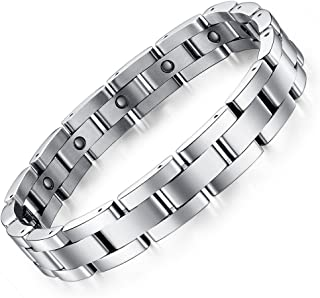 Reizteko Stainless Steel Magnetic Link Bracelet for Men Sleek Magnetic Therapy Bracelet for Arthritis Pain Relief with Free Link Removal Tool