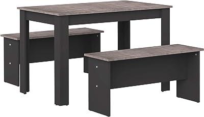 Amazon Basics - Table de salle à manger avec 2bancs, 110x70x73cm (longueurxprofondeurxhauteur), Noir et finition béton