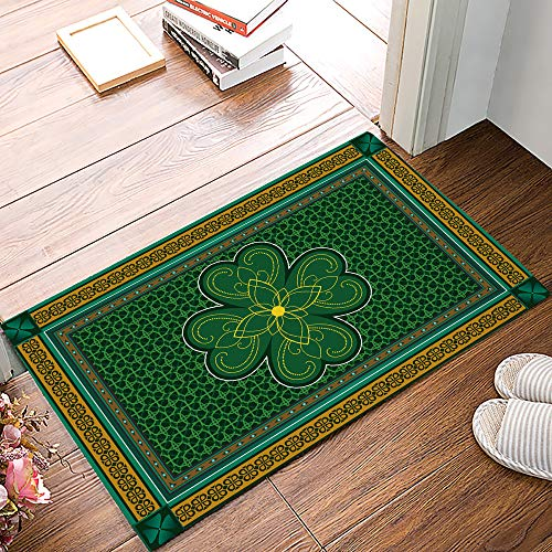 St. Patrick's Day Durable Door Mats Inside Floor Mud Dirt Trapper Mats Rubber Backing Non Slip Entrance Front Door Rug Shoes Mat Carpet, Retro Celtic Knots Lucky Clover Irish Decor, 18 x 30inches