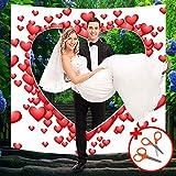 Hochzeitsherz zum Ausschneiden - 1.8 x 2m Hochzeits Laken mit Mini Scheren Set - Hochzeits Deko Bettlaken mit Herz Ballon Design für Hochzeit Braut und Bräutigam Hochzeit Standesamt...