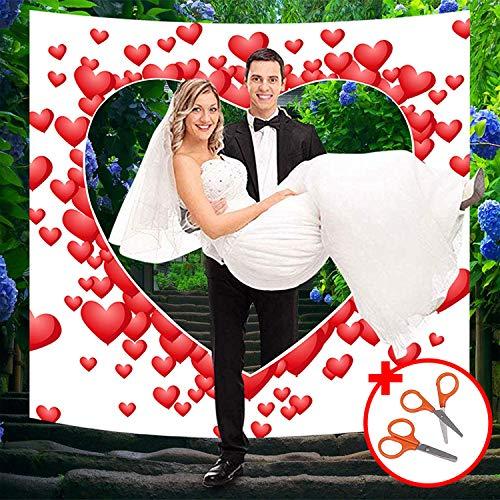 Belle Vous Hochzeitsherz zum Ausschneiden - 1.8x2m Hochzeits Laken mit Mini Scheren Set - Hochzeits Deko Bettlaken mit Herz Ballon Design für Hochzeit Braut und Bräutigam Hochzeit Spiele