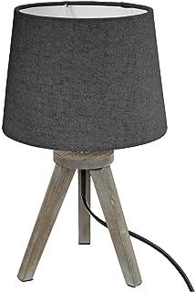 Atmosphera - Lampe Bois trépied Abat-Jour Gris H31