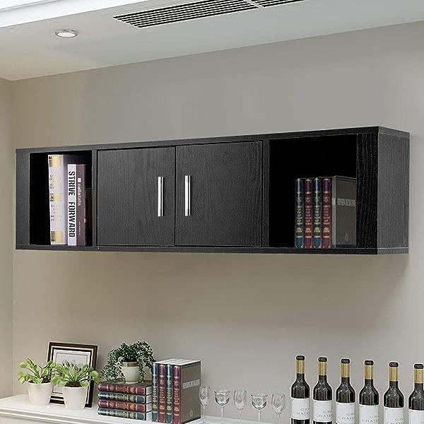 KOVALENTHOR 壁挂式浮动收纳柜 2 门书桌厨柜收纳置物架家用办公室客厅厨房黑色