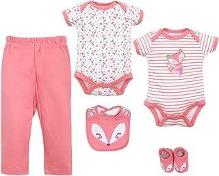 ZEVONDA Baby Girls Bodysuit Clothing Set 5Pcs - Long Sleeve Romper Bodysuit & Trousers & Bibs Cute Newborn Outfits for 0-12 Months