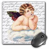 3dRose 8 X 8 X 0.25 Thinking Cherub Angel Boy Resting On Heaven Cloud Cupid Black And White Handwriting Vintage Art Mouse Pad (mp_112919_1)
