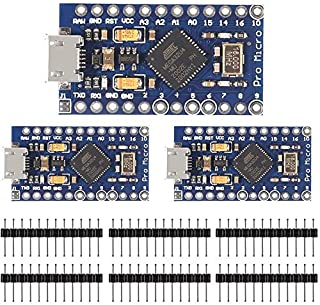 ACEIRMC Pro Micro ATmega32U4 5V/16MHz Arduino用 互換マイクロコントローラ Micro USB 開発ボード (3個セット)