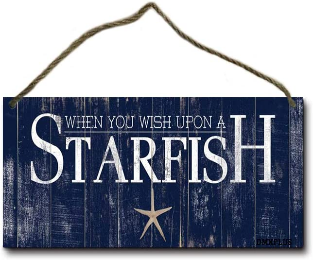 Guyte When You Wish Upon A Starfish Wood Hanging Wall Sign,Rustic Wooden Home Decor 5x10 Inches