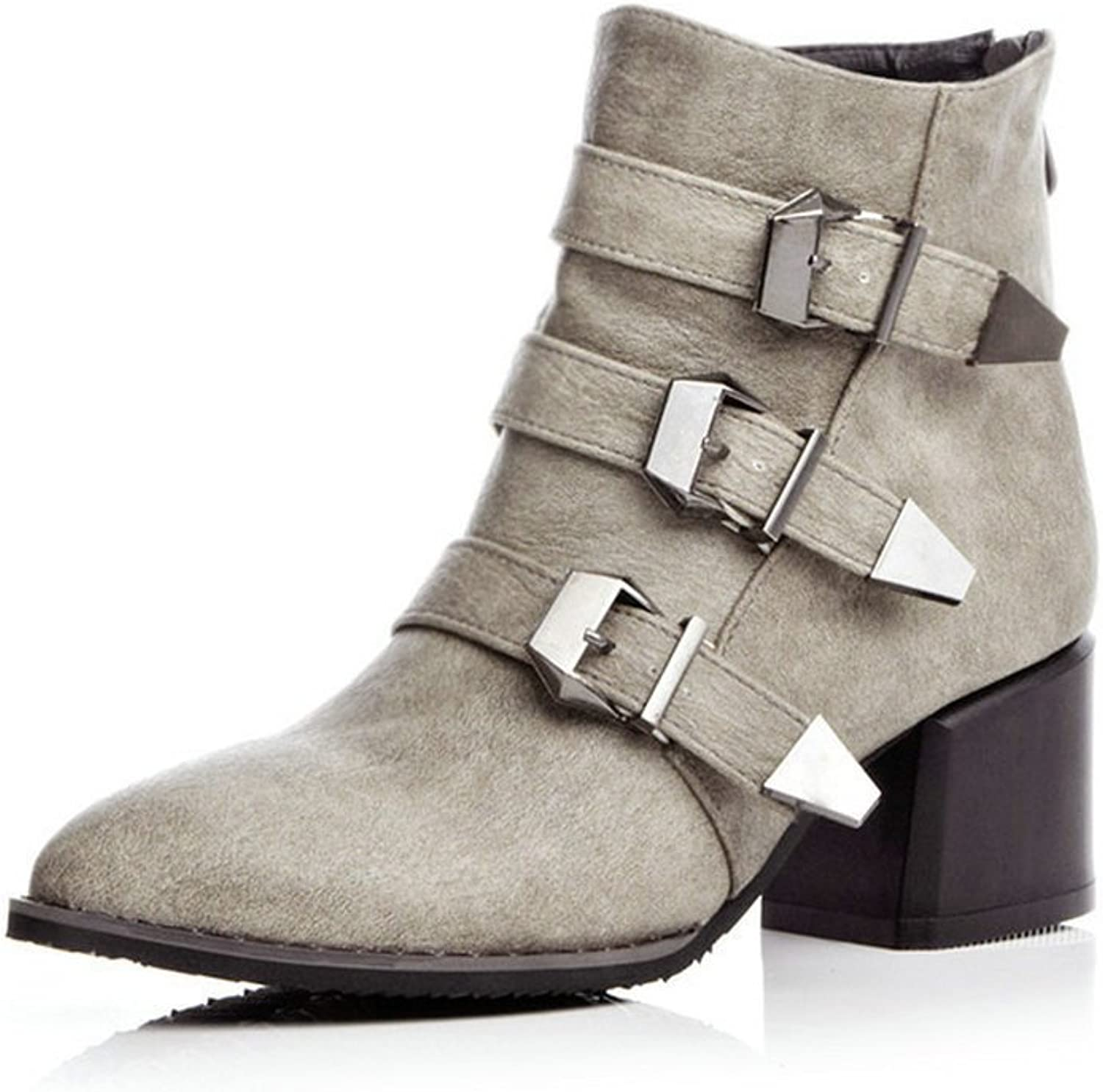 NIQI Women PU Leather Buckles Mid Heel Pointed Toe Dress Ankle Martain Booties Big Size 10
