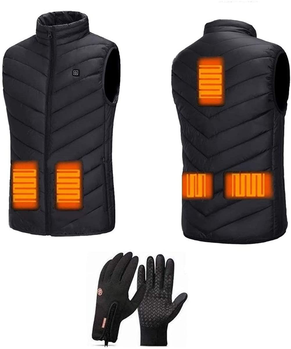 FREEFA Electric Heated Vest USB Charging 5 Heating Zones Unisex Lightweight Water Wind Resistant Gilet with Touchscreen Glove