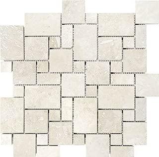 Epoch Tile IVRVER Tumbled Travertine Mini Versailles, Ivory