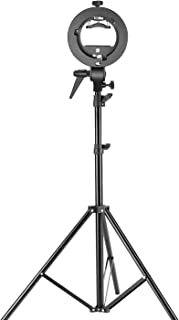 Neewer Studio Photography S-Type Speedlite Bracket Holder with Bowens Mount and 75 inches/190 Centimeters Adjustable Light Stand for Flash Snoot Softbox Beauty Dish Reflector Umbrella