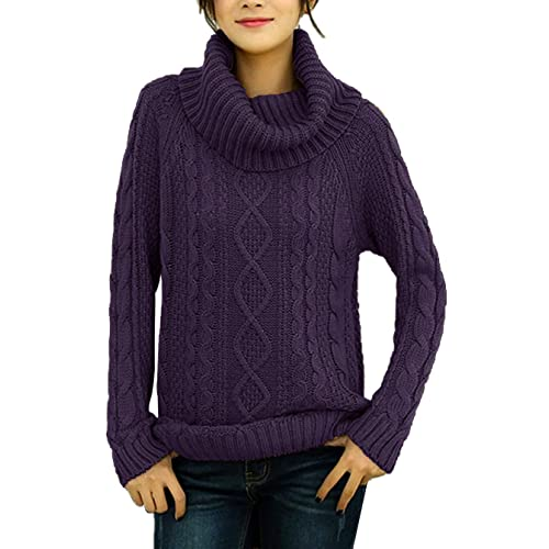 60ca2f2cfd8 v28 Women s Korean Design Turtle Cowl Neck Ribbed Cable Knit Long Sweater  Jumper