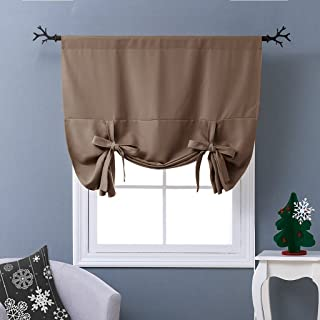 NICETOWN Balloon Shade Blackout Curtain - Thermal Insulated Tie Up Window Blind for Small Window (Cappuccino, Rod Pocket Panel, 46 inches W x 63 inches L)