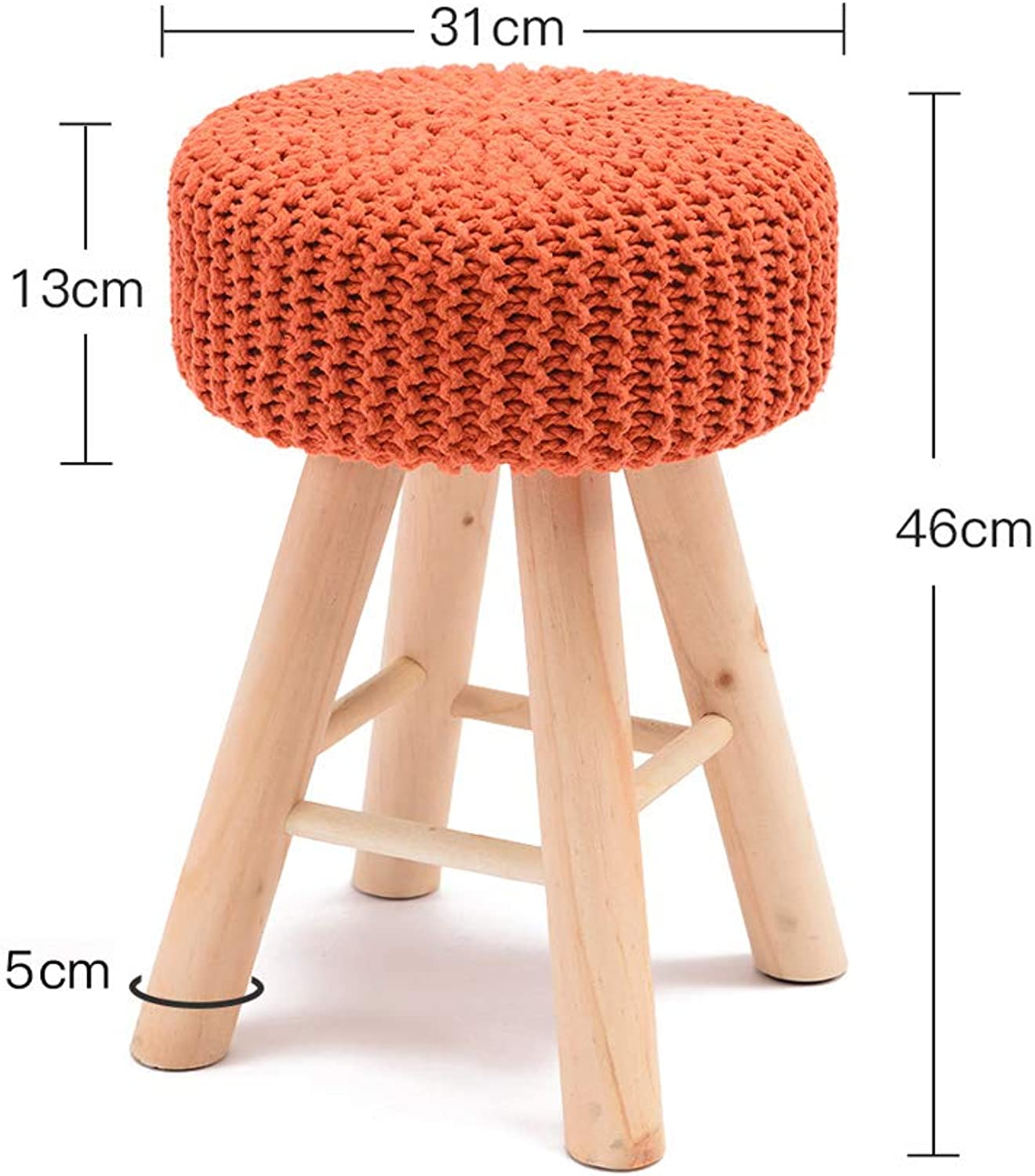 MXD Stool Solid Wood Stool Fashion Sofa Stool Creative Dressing Stool Modern Small Round Stool Home Makeup Stool Bench Small Chair (color   orange)