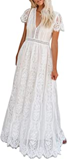 Women's V Neck Long Evening Dress Short Sleeve Lace...