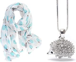 Lola Bella Gifts Hedgehog Lovers Scarf and Necklace Bundle