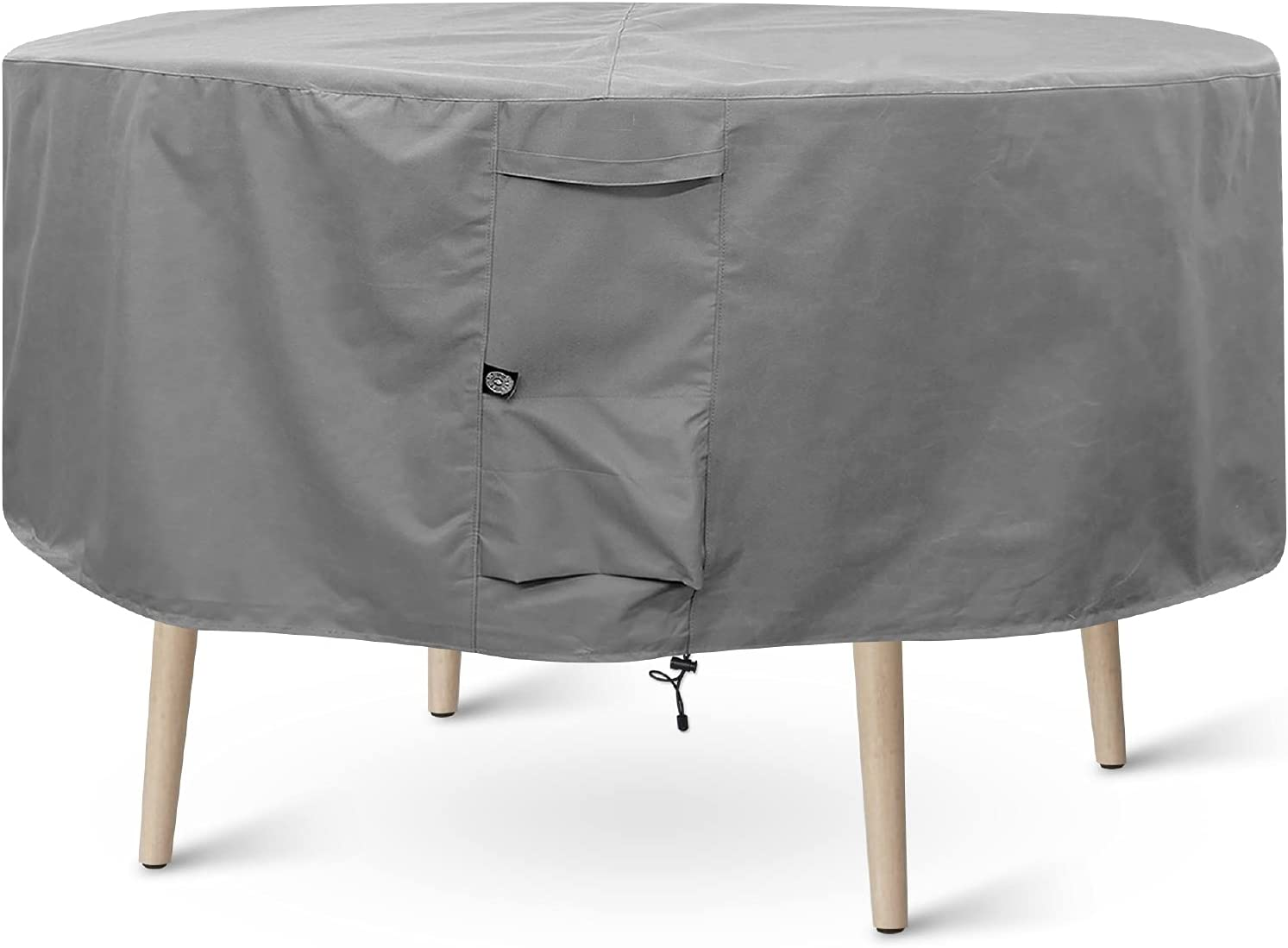 KHOMO GEAR Round Patio Table & Chair Set Cover - Durable and Water Resistant Outdoor Furniture Cover (Grey, Medium - 70