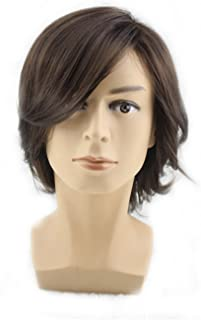 TopWigy Men Medium Style Short Layered Wigs Oblique Fringe Hairstyle Dark Brown Halloween Cosplay Wig Anime Costume Party Wig