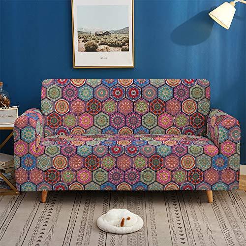 Housse De Canapé Extensible Imprimée - 1/2/3/4 Seat Living Room Elastic Sofa Cover Bohemian Style Fleurs Psychédéliques Impression, Moderne Slip Spandex Amovible Tissu Lavable Meubles pour Animau