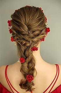 FXmimior - Set di diadema per matrimonio con rose rosse e cristalli, accessorio per capelli (rosso)