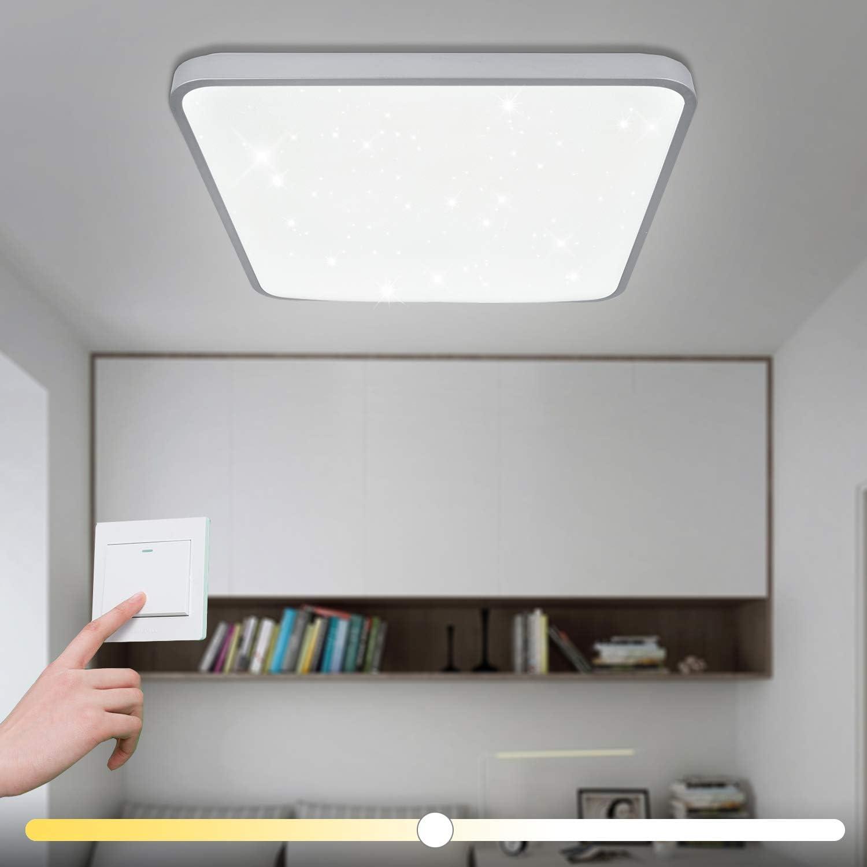 60W LED Deckenleuchte Eckig Sternenhimmel Warmwei(4800-5400-6000LM) Wohnzimmerlampe Beleuchtung Funke Schlafzimmerleuchte Silber Energiesparende Mbeleinbauleuchte
