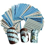 Snaro Nail Sticker Clavar Tip Pegatinas DIY Marca de Agua Negra Fondo Azul Uñas Pegatinas de Uñas Herramientas Artísticas (72 hojas)