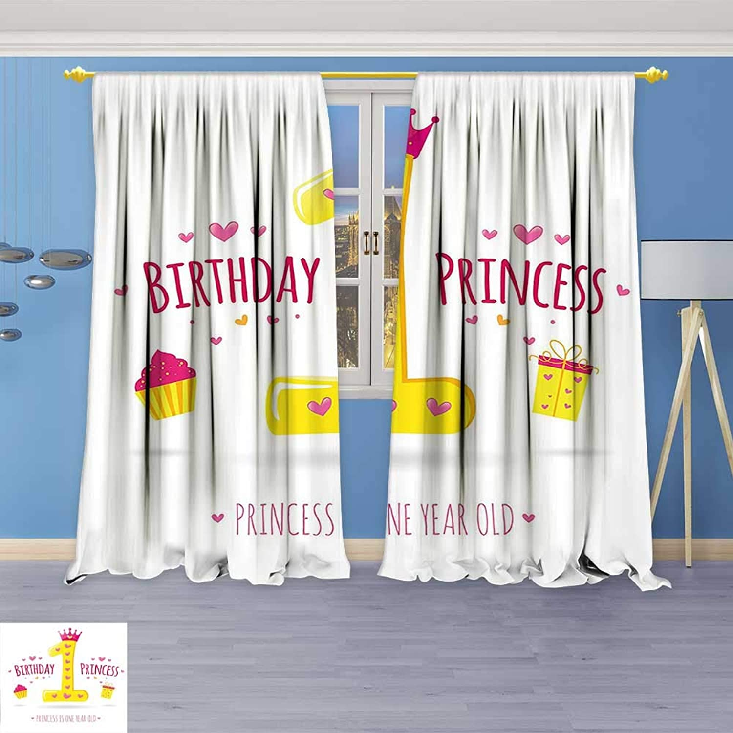 Philiphome Thermal Insulated Blackout Window Room Decorations Quote Design Princess Girl Theme Party with Hearts Image Yellow and Hot Top Extra Long Curtains Set of 2 Panels