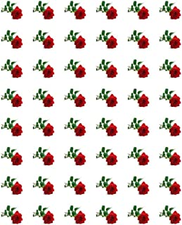 """48 RED ROSE ENVELOPE SEALS LABELS STICKERS 1.2"""" ROUND"""