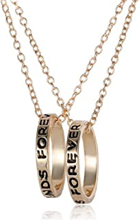 Fusicase Best Friends Forever Two Part Necklace, Engraved Ring Pendant Charm Necklace