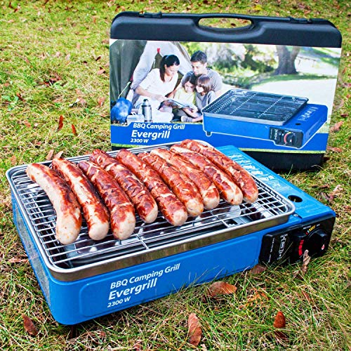 Angel DomäneButangas Camping Grill Evergrill mit Transportkoffer | Gasgrill BBQ Barbeque Tischgrill Butangas