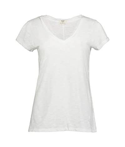 Dylan by True Grit Soft Slub Cotton Classic V-Neck Tee (White) Women