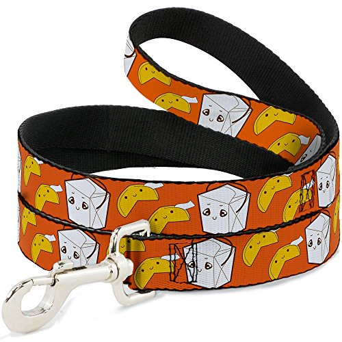 Buckle-Down Pet Leash - Take Out/Fortune Cookies Orange - 4 Feet Long - 1.5' Wide